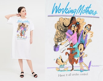 Vintage 80s White T-shirt Dress | WORKING MOTHERS Have It All Under Control | Funny Graphic Oversize T-shirt | Tee Shirt | NOS One Size