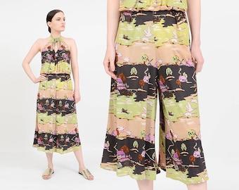 Vintage 70s Jumpsuit | Wide Leg Jumpsuit | Cropped Culottes Romper | Novelty Scenic Print | Hippie Jumpsuit | Green Purple | Medium M