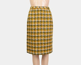 Tweed Wool Skirt | 60s Pencil Skirt | High Waisted Wiggle Skirt | 50s Retro Secretary Skirt | Checkered Knee Length Skirt Gold Green | XS S
