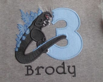 Godzilla Birthday Shirt with Number