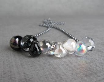 Lampwork Necklace Raven Black Necklace Black Sparkle, Gunmetal Gray Necklace Pearly White Necklace, Dichroic Clear, Oxidized Sterling Silver