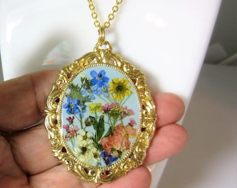Blossoms on Blue, , Pressed Flower Pendant, Real Flower Necklace,  Resin (2078)