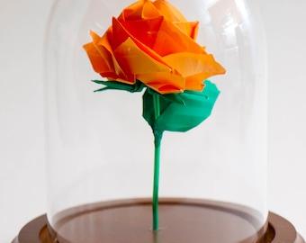 Eternal rose orange origami small decorative globe