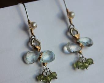 Aquamarine, Peridot and Pearl mixed metal earrings