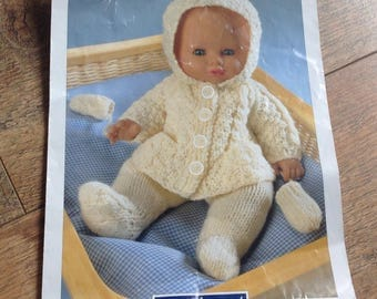 Vintage Knitted Dolls Clothes Pattern , knitting Pattern Dolls Clothes