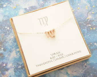 rose gold cubic zirconia zodiac Virgo necklace, birthday gift, personalized, gift for women girl, minimalist, simple necklace, layered