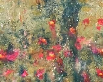 Amber's Daisys, mixed media acrylic original paintong on canvas