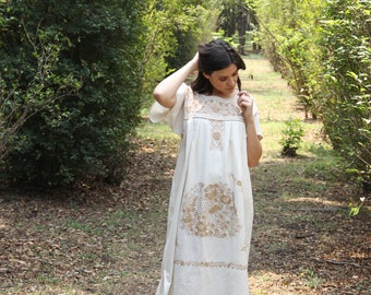 Beige and tan colored embroidery Puebla Dress