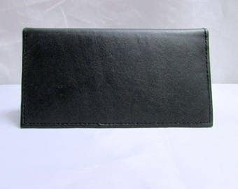 Vintage NOS Black Genuine Leather Checkbook Cover