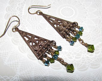 One of a Kind BOHO Gypsy Earrings Vintaj Brass and Swarovski Crystals on Etsy by APURPLEPALM