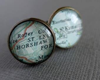 Customizable Cufflinks, Map Travel Gift, Custom Mens Gift Idea, Personalised Cufflinks, Christmas Gift For Husband
