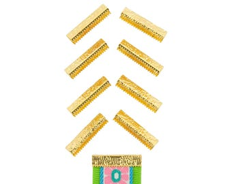 50 pieces  25mm or 1 inch - Gold - No Loop - Ribbon Clamp End Crimps - Artisan Series