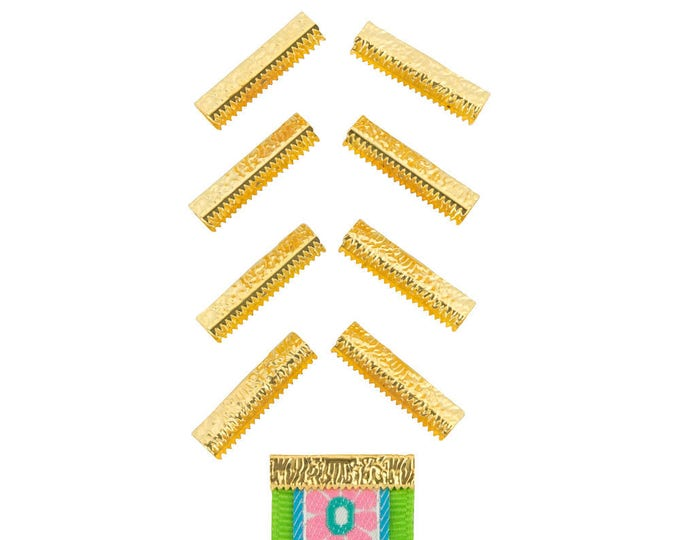 50pcs.  25mm or 1 inch - Gold No Loop Ribbon Clamp End Crimps - Artisan Series