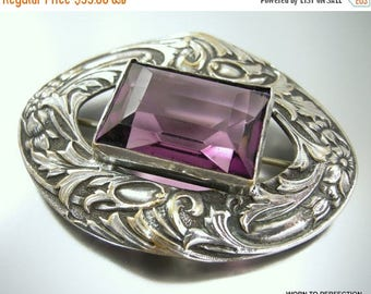 45% off Sale Victorian Revival Silver Colored Sash Pin with Purple Glass