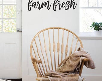 Farm Fresh Farmhouse Style Decal 9x30 saying Delicate Script Decor Vinyl Wall Decal Graphic