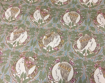 Vintage Art Nouveau Mucha women novelty print cotton fabric 3.25 yards