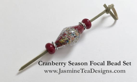 Cranberry Bicone With Silver Starbursts Focal Bead Set, Cranberry Spacers, Silver Swirls Spacers, Large Hole Beads For Kumihimo Braids