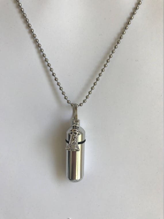"Silver Cremation Urn & Vial on 24"" Silver Necklace with LIGHTHOUSE - Custom Hand Assembled.... with Velvet Pouch and Fill Kit"