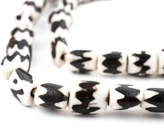 50 Batik Bone Beads - African Trade Beads - Made in Kenya - Chevron - Handmade Tribal Beads - Fair Trade - Black & White (BON-CYL-CHV-255)