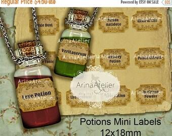 SALE - 30%OFF - Potions Mini Labels 12x18mm Bottle Pendants - Apothecary Labels - Collage Potion Labels - Collage Bottle Labels - Digital Bo