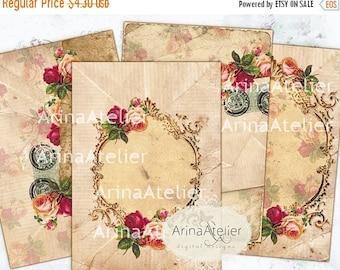 SALE - 30%OFF - Vintage Roses ATC Cards - Background - background - digital collage sheet - set of 4 - Printable Download