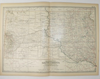 1899 Vintage Map South Dakota, Antique SD Map, US State Map of South Dakota, Geography Art, Office Gift for Coworker, 1899 Century Map