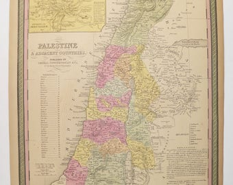 Original Antique Map Palestine 1852 Mitchell Map, Syria Lebanon Map Tripoli, Antique Art Map Gift, Historical Map of Holy Land Vintage Map