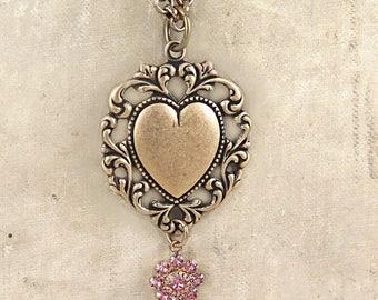 Heart Necklace, Lace Heart Pendant, Victorian Heart, Pink Rhinestone Flower,