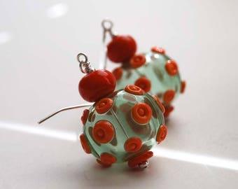 SALE Hollow Blown Glass Earrings, Light Weight Earrings, Green Earrings, Polka Dot Earrings, Lampwork Glass Bead Earrings