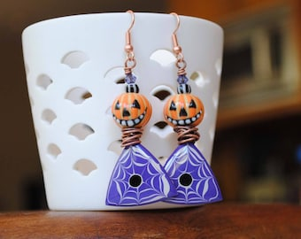 Halloween Pumpkin Earrings, Halloween Spider Web Earrings, Spooky Earrings, Ceramic Bead Earrings, Unique Artisan Earrings, Pebeo Jewelry