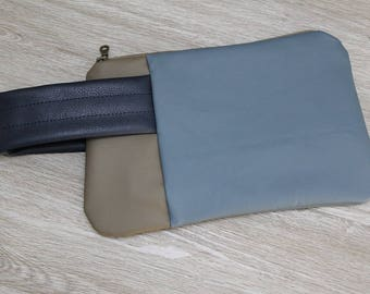 Color Blocked Vegan Leather Wristlet, Salvaged Upholstery Clutch, Large Zip Pouch, Blues with Brown