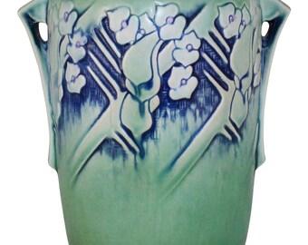 Roseville Pottery Clemana Green Vase 757-10