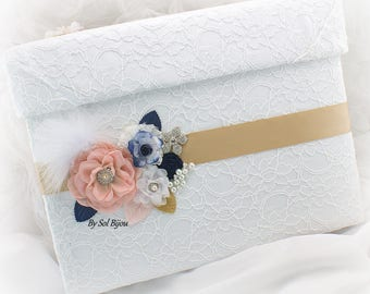 Wedding Money Box,Card Holder Box,White, Gold,Blush,Navy Blue,Keepsake Box,Vintage Wedding,Invitation Box,Card Box,Lace Money Box, Pearls