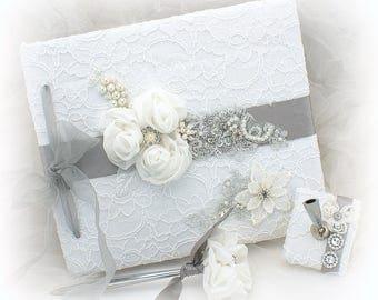 Wedding Guest Book White Silver,Bridal Guestbook Signature Book Set,Custom Order