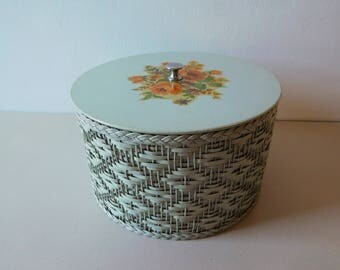 Vintage 1940s wicker sewing basket Seafoam green woven sewing box