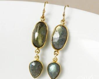 ON SALE Gold Midnight Blue Labradorite Earrings - Free Form Labradorite - 14Kt GF