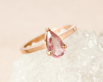 Rose Gold Pink Tourmaline Teardrop Ring - Dusty Rose Pink Tourmaline - One of a Kind