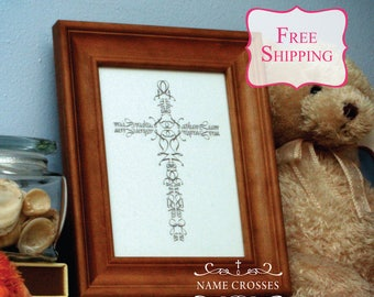 Personalized Baptism Gift | Name Cross print | 8x10 | FREE SHIPPING