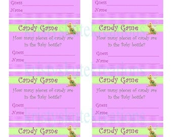 Tinkerbell Guess how many game-Digital-Matches Tinkerbell baby shower invites