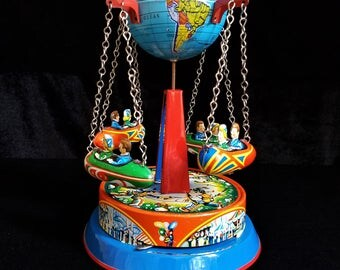 Vintage Tin Litho Toy Planet Rocket Go Round, Western Germany Litho Toy, 4 Rocket Ship Toy, B and S, Blomer and Schuler, 1940s Fying Toy