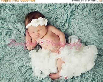 White Flower Headband, Mini Satin Rosette Trio w/ Rhinestones Stretchy or Hard Headband, Baptism, Christening, Baby Child Girls Headband