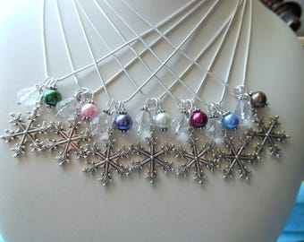 Pearl Snowflake Necklace Jewelry Pendant Charm - You Pick Color