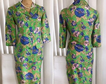 40% OFF Christmas in July Pretty early 1960's Silk two piece suit in lime and purple Poppy print -- Size M-L