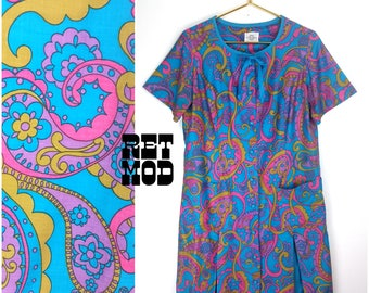 Crazy Cool Vintage 60s Blue, Pink, Purple, Gold Psychedelic Paisley Pucci Style Cotton Dress or Housecoat