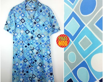 Vintage 90s Blue Op Art Geometric Lightweight Shirt Dress