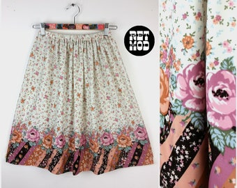 Cute Vintage 70s White, Pink, Black, Peach Traditional Floral A-Line Skirt