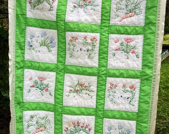 handmade Baby Quilted  blanket Embroidered bunny  Calver Bible Church Nursery