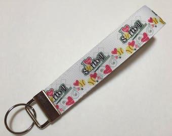 I Love Softball Key Fob Keychain wristlet