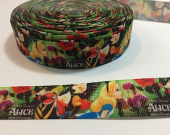 3 Yards of Ribbon - Alice in Wonderland 7/8 inch Wide