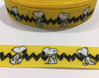 3 Yards of Ribbon - Yellow Charlie Brown Zig Zag Stipe with Snoopy 7/8 inch Wide
